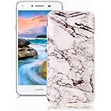 Funda Huawei Y5 II/ Y5 2 Mármol, Yunbaozi Diseño Mármol Carcasa Suave Goma Silicona Soft Marble Case Textura de Piedra Natural Funda Liso Flexible Anti-Rasguños Patrón Granito Funda para Huawei Y5 II/ Y5 2 - Blanco Negro
