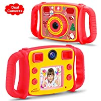 DROGRACE Children Kids Camera Dual Selfie Cameras 1080P HD Digital Video Camcorder for Boys Girls with 2 inch LCD, 4X Zoom, Game and Handles - Red