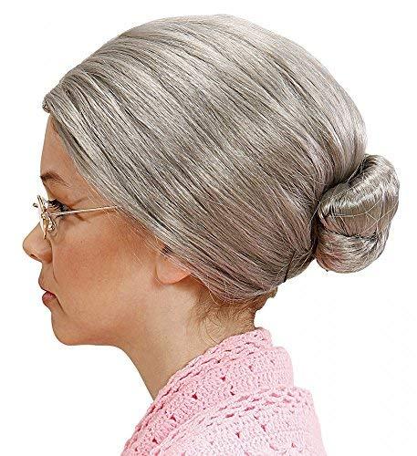 Perücke mit Dutt Greisin Alte Großmutter Omi Märchen Damen Haare Knoten ()