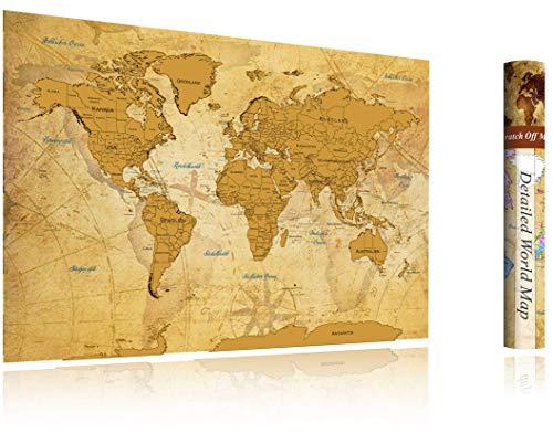 FlyHigh XXL Weltkarte Poster zum Rubbeln in Deutscher Sprache (82x60 cm) inklusive Klebesticker, Kratzwerkzeug und Mikrofasertuch (Gold)