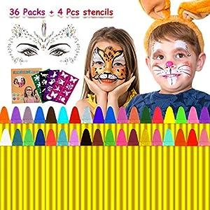 Natale Trucchi per Truccabimbi,Emooqi 36 Colori Fviso Body Paint Pittura con 4 Stencil Face Paint per Bambini, Ideale… 2 spesavip