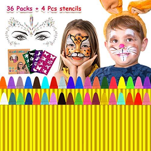 Emooqi Navidad Pintura Facial, 36 Colores Pintura de Cara Pintura Facial Seguro y No Tóxico Pinturas Cara para Niños con 40 Plantillas,Ideal para Carnaval, Fiestas Temáticas - Regalo de Los Niños