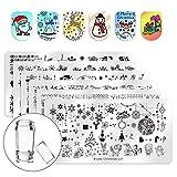 Biutee 6-teiliges Nagelschablonen-Set für Nagelkunst, Weihnachtsdesign, Weihnachtsbaum, Hirsch, Schneeflocke, rechteckige Stempelplatten