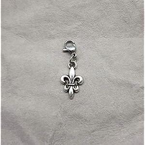 Fleur de Lis Tracht Charivari Anhänger Karabiner Bettelarmband Schlüsselanhänger Kette Farbe: silber