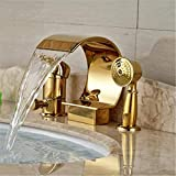 Wasserhahn Waschbecken Wasserhahn Wasserhahnluxus Goldene Wasserfall Badewanne Mischbatterie Deck Montieren Einhand Wannenarmatur Mit Handbrause