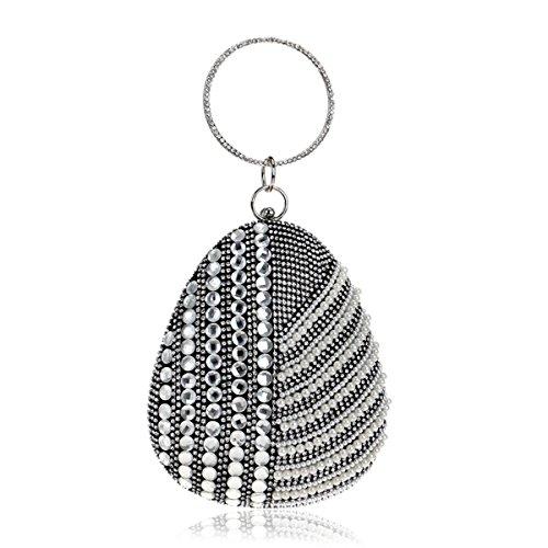 Flada, Poschette giorno donna argento Silver medium Black