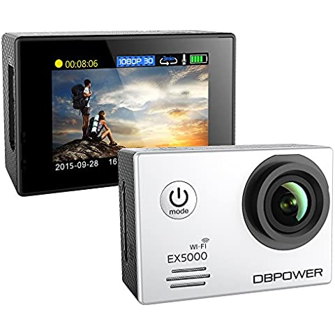 DBPOWER-EX5000 WIFI 14MP FHD Sports Action impermeabile, con 2 batterie