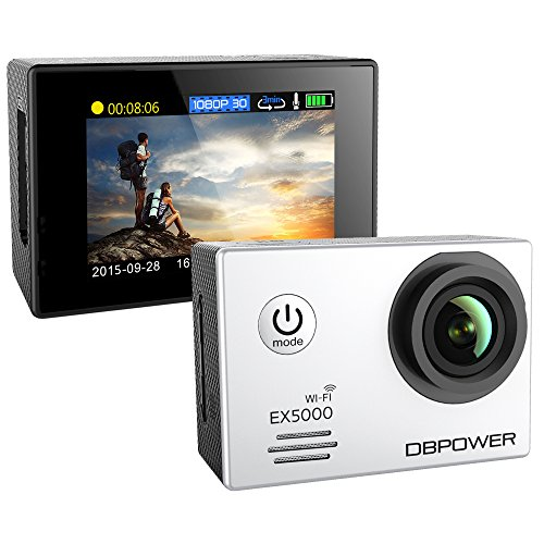 DBPOWER® EX5000 Originale Versione WIFI 14MP FHD Sport Action Camera Impermeabile con 2 batterie e kit accessory inclusi (Bianco)