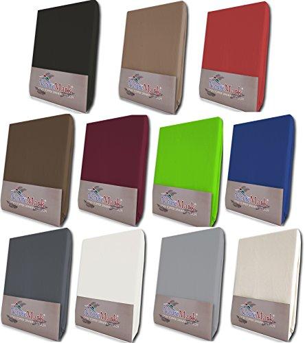 NatureMark Topper Spannbetttuch, Spannbettlaken in allen Größen und vielen Farben (140 x 200 bis 160 x 200 cm, rot)