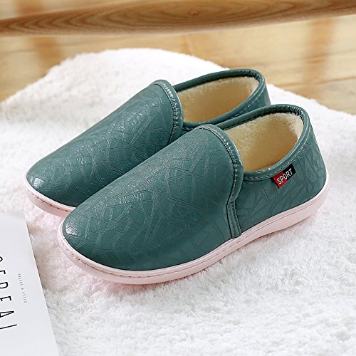 Impermeabile fankou pelle PU cotone pantofole inverno uomini e donne con fondo spesso della piscina anti-slittamento home home coppie home Pantofola in cuoio Braun