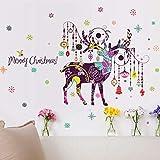 Adesivi murali natalizi dipinti a mano colorati alci carillon eolici creativi appesi neve soggiorno decorazione del corridoio traslucido decalcomania 60x90 cm