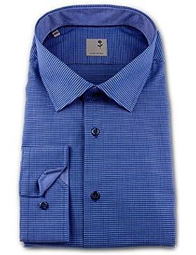 Seidensticker Herren Langarm Hemd Schwarze Rose Slim Fit Business Kent Patch blau kariert 245846.16