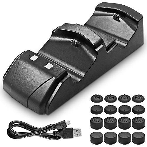 Dual Shock Ladestation für PlayStation 4-Controller mit 16 Thumb Grips, AFUNTA Ladegerät Ladestation für PS4, 16 Silikon-Pads Thumbstick