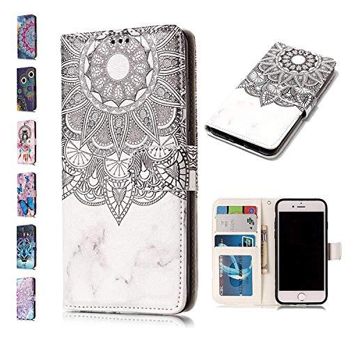 E-Panda kompatibel mit Samsung Galaxy J6 Plus 2018 Hülle Marmor Mandala Blume + Weiß 3D Muster Design PU Leather Wallet Cover Flip Case Handyhülle Lederhülle Tasche Etui schutzhülle mit Kartenfach