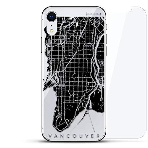All Things Elon: Ludicrous Speed! Tesla Fan CASE Luxendary Un-Case Serie Designer-Glas-Rückplatte mit Displayschutz für iPhone XR, Karten: Vancouver, Straßenkarte, farblos