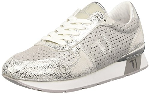 Calças De Brim Trussardi Por Mulheres 79s50853 Baixo Sneaker Prata / Preto