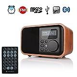 InstaBox i90 Verbesserte hölzerne digitale multifunktionale Lautsprecher mit Bluetooth FM Radio Wecker MP3-Player, unterstützt Micro SD / TF-Karte und USB mit Fernbedienung, braunes Holz