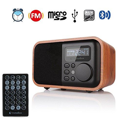 InstaBox i90, Haut-parleur Numérique Multifonction en bois avec radio FM Bluetooth Réveil Lecteur MP3 Micro SD/TF et entrées USB avec télécommande, bois marron