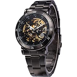 AMPM24 Mens Skeleton Black Dial Automatic Mechanical Dark Silver Steel Wrist Watch Gift + AMPM24 Gift Box PMW210