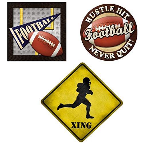 Smart Blonde Signs Bundle: Metall-Wanddekoration, Fußball-Schilder - Fußball-Banner Torpostschild, quadratisches Schild, Never Quit kreisförmiges Schild und Fußball Xing Crossing Schild -