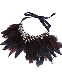 QIYUN.Z Moda Elegante Rhinestone Bling Del Collar De Gargantilla De Plumas Collar De Cuerda Lindo Sexy