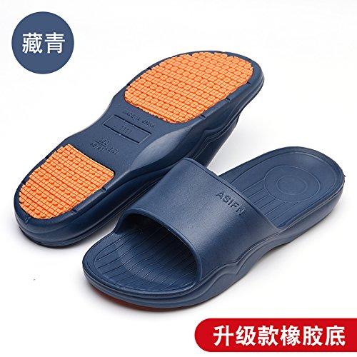 DogHaccd pantofole,Home pantofole donne indoor estate anti-slittamento raffreddare bagno pantofole bagno soft coppie di spessore piano casa pantofole per uomini Blu scuro1