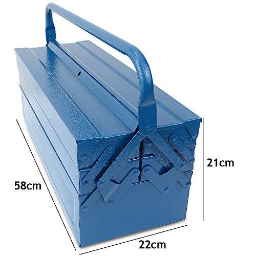 Werkzeugkoffer leer groß ✔ Stahl ✔ 5-teilig ✔ Deuba® - Werkzeugkasten Werkzeugbox Werkzeugkiste Werkzeug Montage Koffer - blau - 580x220x210mm - 7