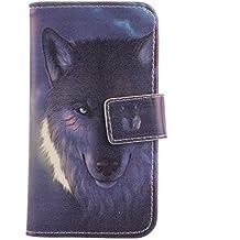 "Lankashi PU Flip Funda De Carcasa Cuero Case Cover Piel Para Leagoo Alfa 2 5"" Wolf Design"