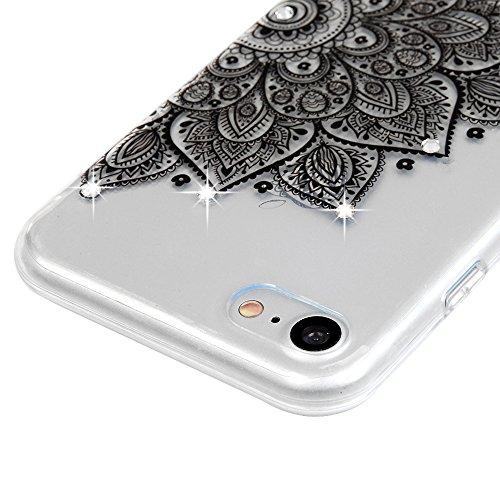 """Badalink Coque iPhone 7 (4.7""""), Bling Bling Gliter Sparkle Paillette Case Housse Étui Bumper Coque de Protection TPU Silicone Gel Transparent Souple Flexible Ultra Mince Slim Léger Anti Rayure Anticho Demi-Fleur Noir"""