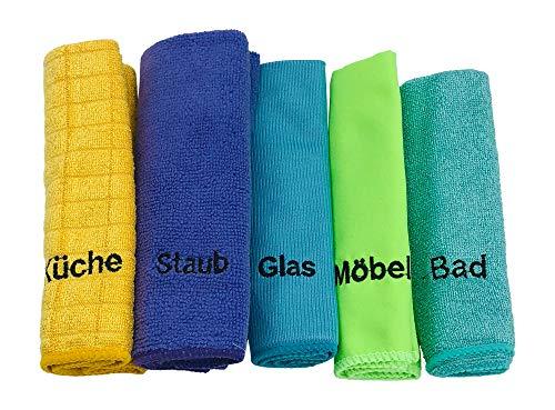 KaiserRein Mikrofasertücher/Reinigungstücher-Set 5 er Set beschriftet mit Küche, Bad, Möbel, Staub und Glas -