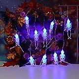 Lichterkette,FeiliandaJJ 2.5M 10pc IP44 Wasserfest Halloween Skeleton Skelett Lichterkette LED Licht Hochzeit Party Halloween Innen/Außen Haus Deko String Lights 2XAA Batterien (C)