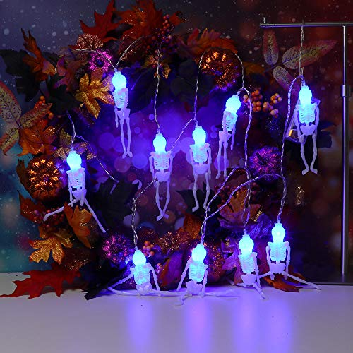 Lichterkette,FeiliandaJJ 2.5M 10pc IP44 Wasserfest Halloween Skeleton Skelett Lichterkette LED Licht Hochzeit Party Halloween Innen/Außen Haus Deko String Lights 2XAA Batterien (C) (Halloween Deko)