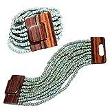 Rustikal türkis Ethnic Perlen Bali Armband w/Dichte Hartholz Schnalle Schließe–14Elastic Strähnen, indomode