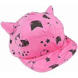 Sombrero de béisbol para bebés y niñas, diseño de orejas de verano, 3 – 15 meses, diseño de gato rosa rosa Talla:talla única