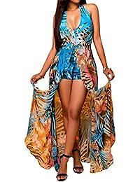Femmes V Neck Halter Floral Maxi Robe Overlay Dos nu Romper Playsuit Jumpsuit
