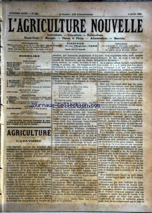 AGRICULTURE NOUVELLE (L') [No 568] du 08/03/1902 - AGRICULTURE PAR MARCHAND - BERTHOT - VACHER - VIMEUX - VACHER - TROUDE - HORTICULTURE PAR MOTTET ET MAGNIEN - VITICULTURE PAR BATTANCHON ET - ROY-CHEVRIER ET LATIERE