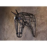 Hollow Iron Horse Head Wall/Wall Pendant Retro Style Decorative Style Industrial Air, MTX Ltd