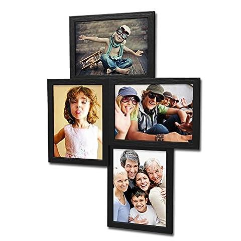 406 Fotogalerie für 4 Fotos 13x18 cm - 3D Optik - Bilderrahmen Bildergalerie Fotocollage Rahmenfarbe Schwarz