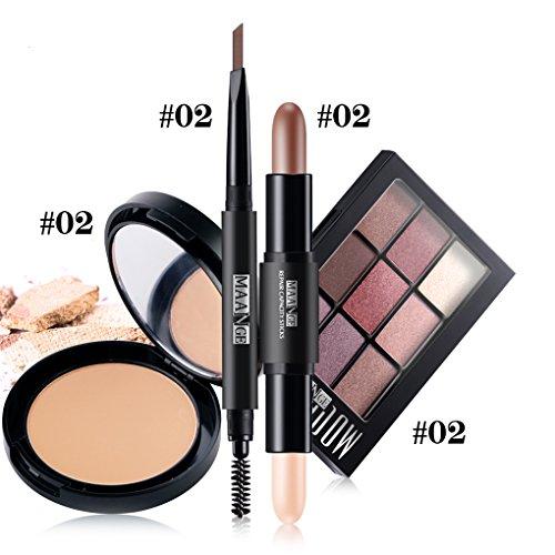 BrilliantDay 4PCS Cosmetic Kit Lidschatten Highlighter Shimmer Stick gepresstes Pulver Augenbrauenstift Ein hochwertiges Make-up Kit welches für alle Anwender geeignet ist#2