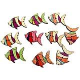 50pcs Adornos De Costura Colorido De Pescado Botones De Madera Del Adorno De Scrapbooking DIY - # 3, 28mm * 20mm