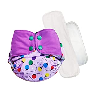 Superbottoms Plus UNO Reusable Cloth Diaper with 2 Organic Cotton Inserts (One Dry-Feel Insert and One Booster) [Day & Night Use] (for Babies-5 KG- 17 KG) (Lavendar)