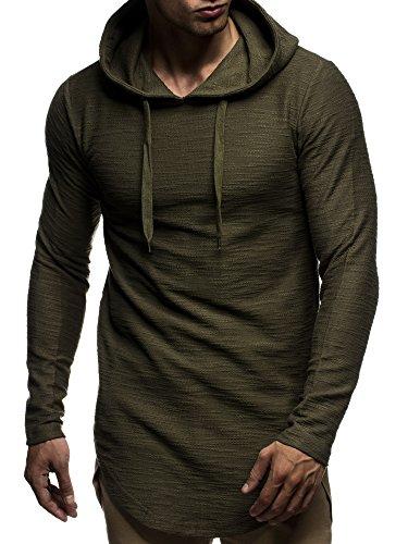 LEIF NELSON Herren Pullover Kapuzenpullover Hoodie Longsleeve Sweatshirt Sweater mit Kapuze LN6300 Khaki