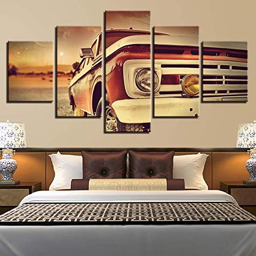 mmwin Moderne Leinwand HD Drucke Wohnkultur 5 Stücke Wandkunst Auto Modulare Bilder Nacht Hintergrund Kreative Kunstwerk Poster