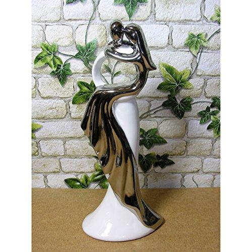 Skulptur Tanzpaar Dame in silbernem Kleid Liebespaar Paar Keramik 31cm weiss silber
