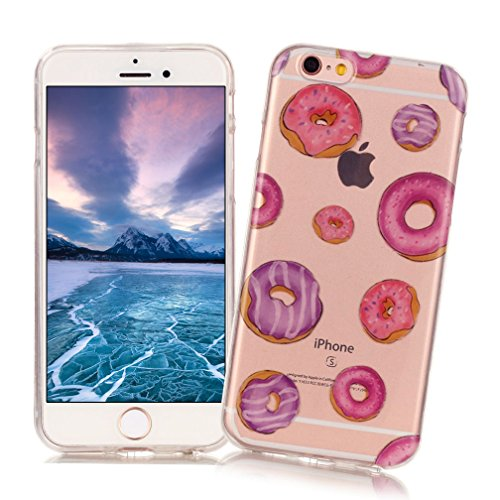 XiaoXiMi iPhone 6/6S Hülle Transparente TPU Silikon Etui Soft Gel Rubber Case Cover Weiche Flexible Schale Glatte Leichte Zurück Schutzhülle Ultra Dünne Schlanke Tasche Anti-stoß Anti-Kratz Handyhülle Süßen Krapfen