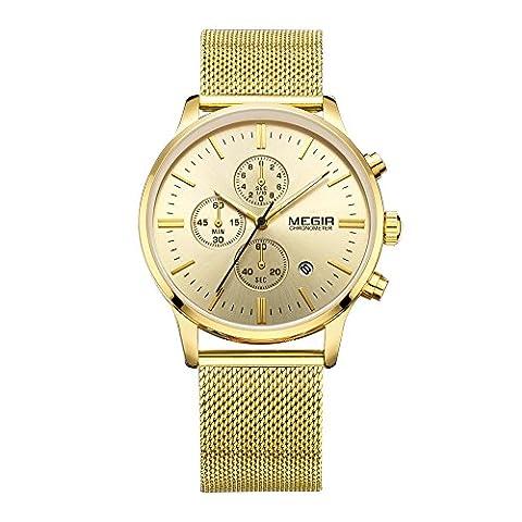 MEGIR Stahl Mesh Verbrauchsteile Business Mann Armbanduhr Quarzuhr mit Kalender und Sub Zifferblatt