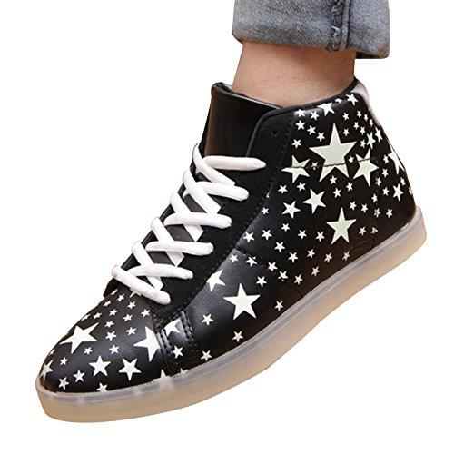 Moollyfox Unisexe Solide Couleur High Top LED Lumières Chaussures Noir