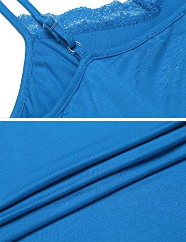 Unibelle Damen Negligee Nachthemd Nachtkleid Lingerie Träger Kleid Sleepwear Nachtwäsche Mit Spitzenbesatz & Unterbrustnaht Blau