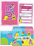 8 Einladungskarten zum 5. Kindergeburtstag rosa incl. 8 Umschläge / bunte und lustige Einladungen zum Geburtstag für Mädchen