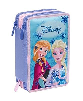 Estuche 3 Cremalleras Disney , Frozen Magic Lights , Azul , Pisos con Contenido: Lápices, Rotuladores, Boligrafos ... por Invicta